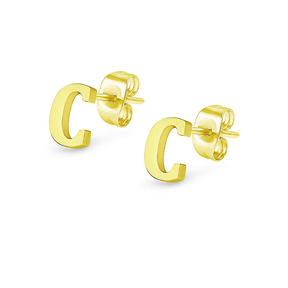 gold color letter stud earring