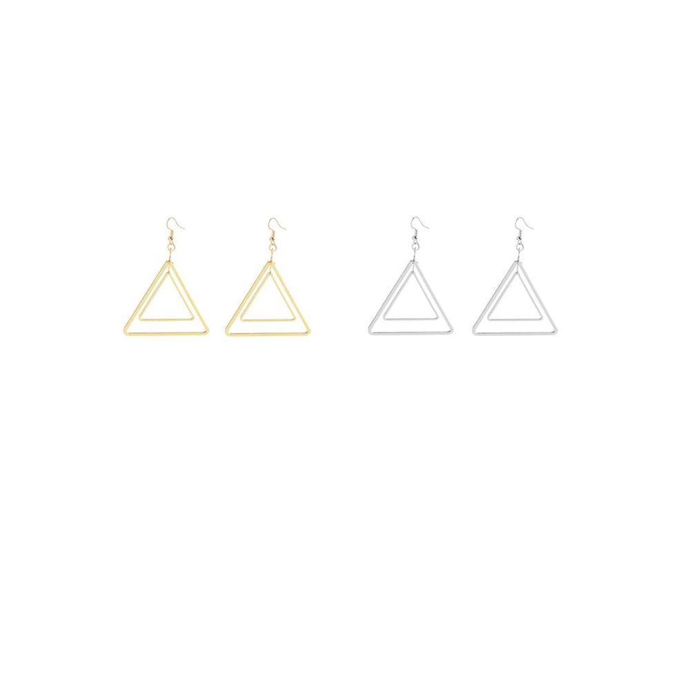 This is gold triangle dangle earrings.