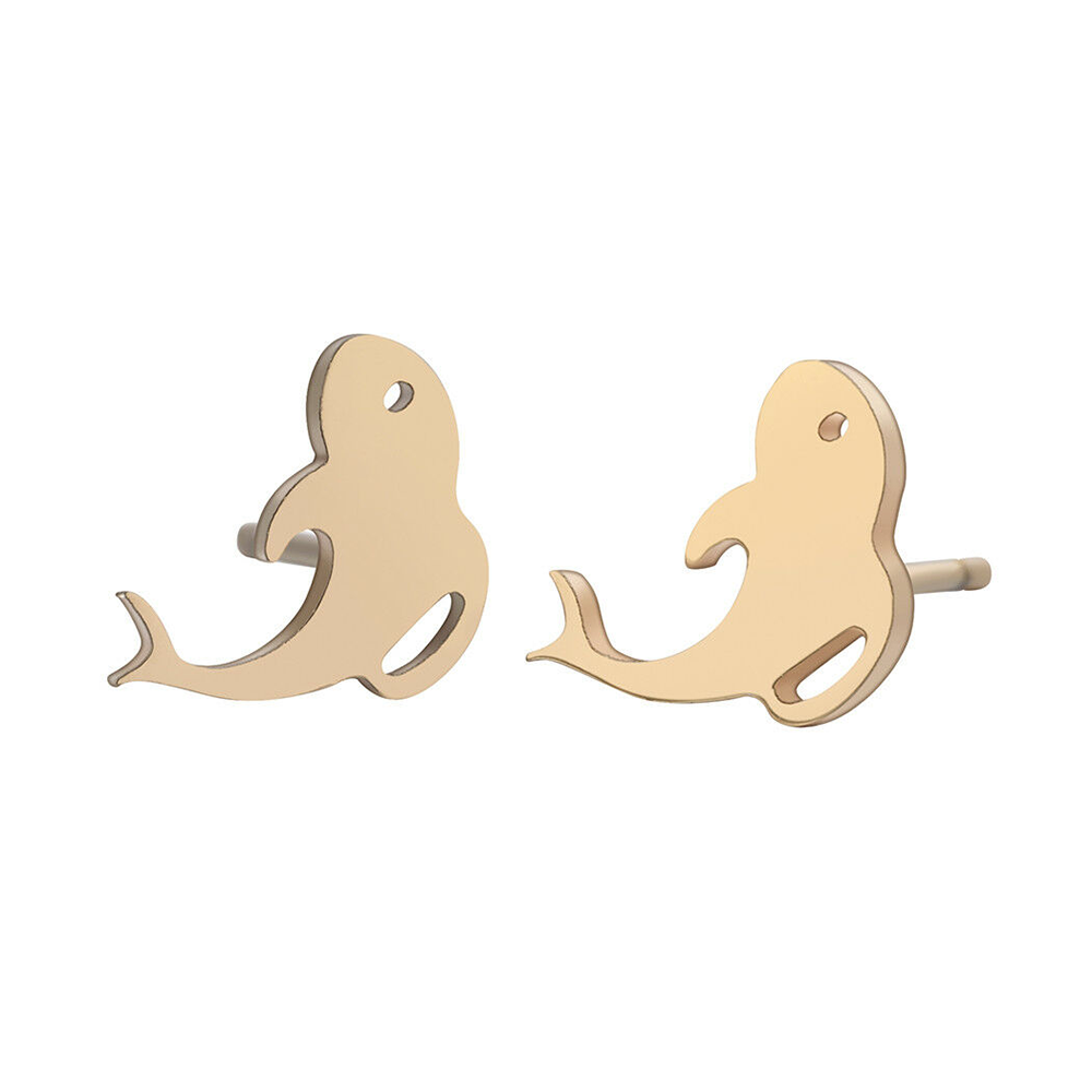 gold whale shape earrings