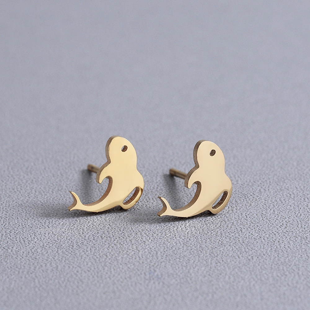 gold fish shape stud earrings