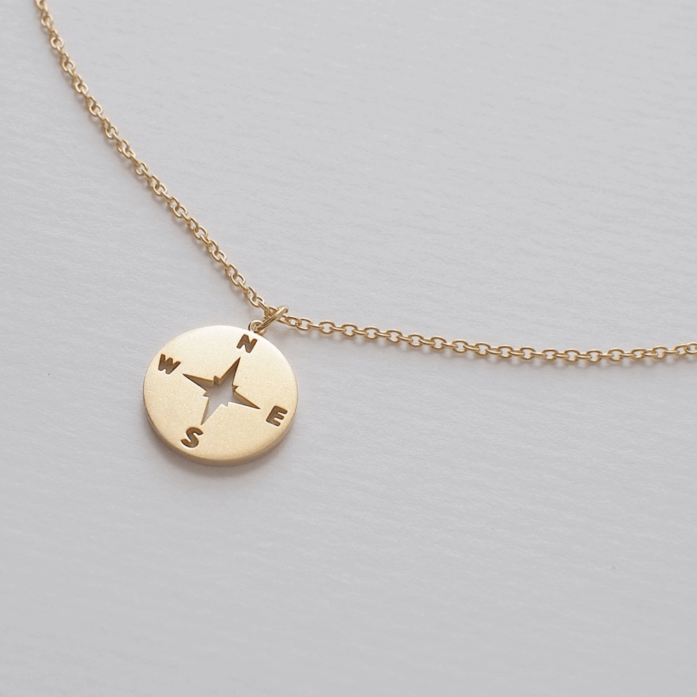 Gold Plated Compass Pendant Necklace