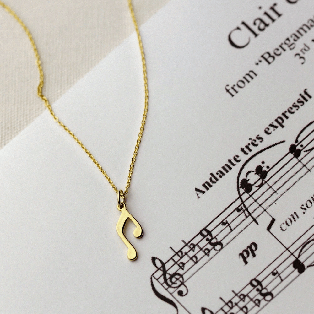 Gold Plated Music Note Pendant for Necklace