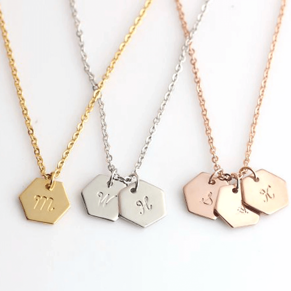 Hexagon Personalized Initials Necklace