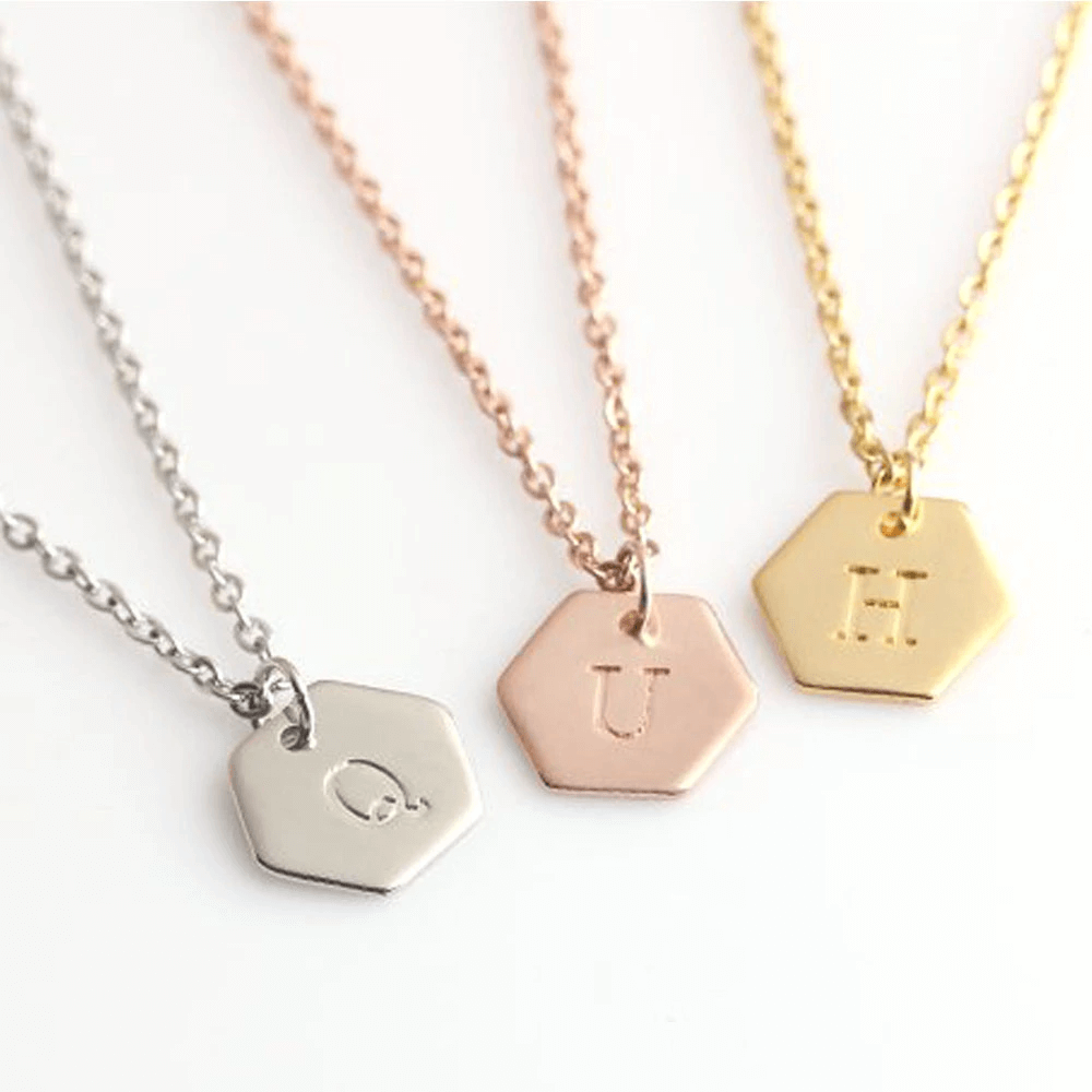 Customized Letter Hexagon Pendant Necklace
