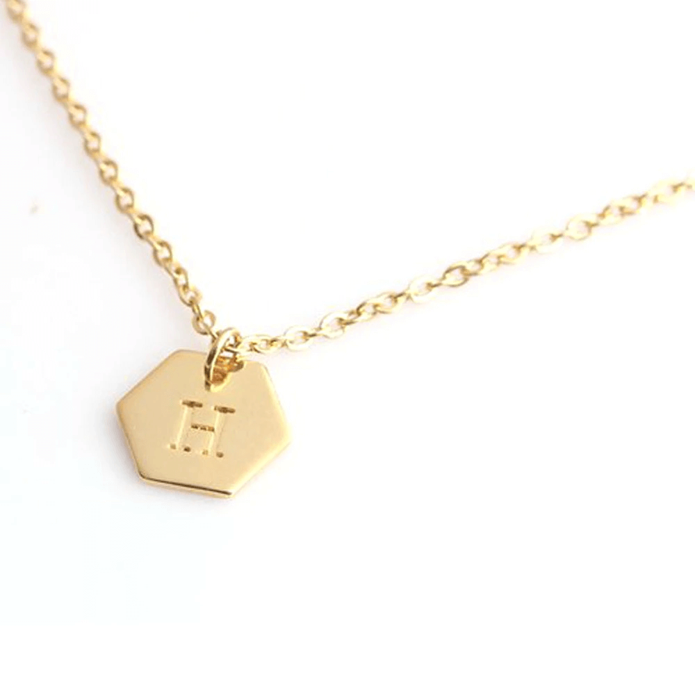 Gold Plated Hexagon Personalized Initials Necklace