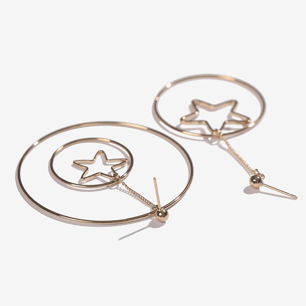 Gold plated dangle hoop earrings.