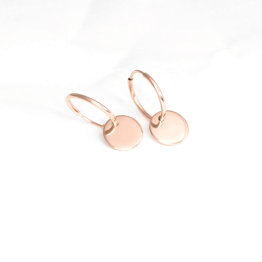 This is a pair of disc hoop earrings.