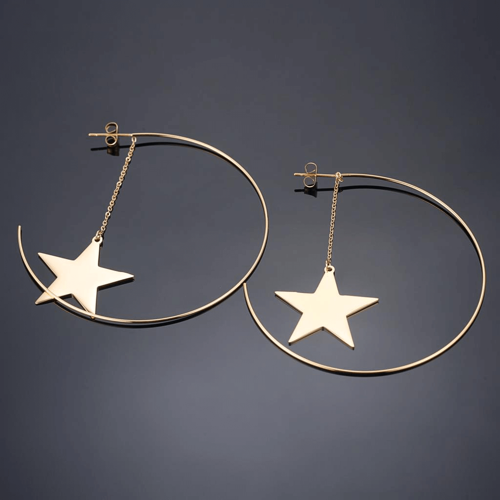 This is a pair of star dangle earrings.