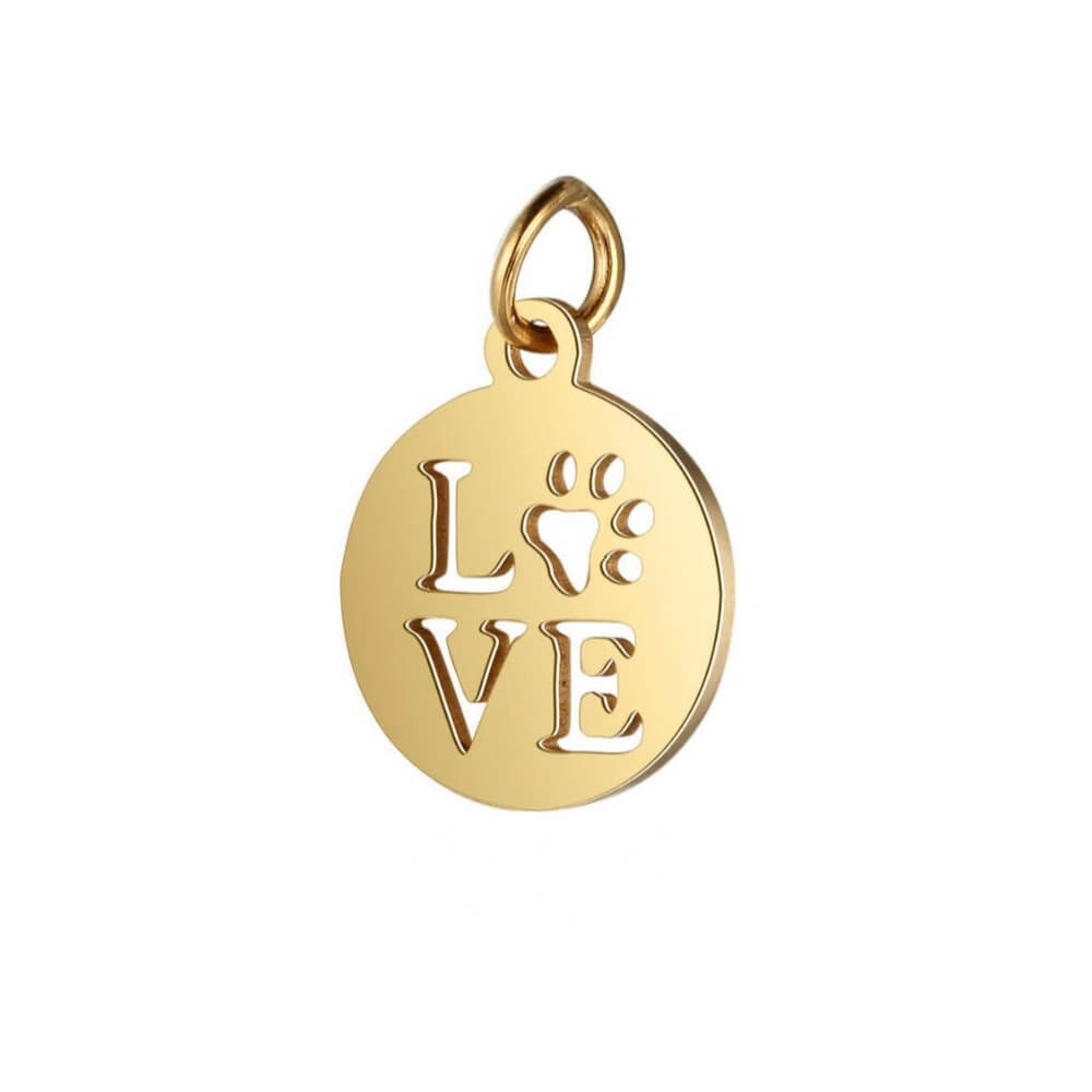 Gold plated love shape pendant.