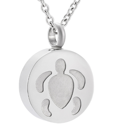 This is a turtle - shaped locket perfume necklace.