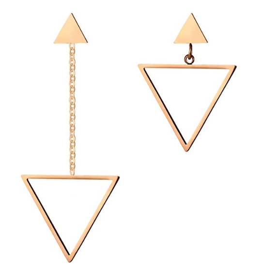This is a pair of asymmetric triangular earrings.