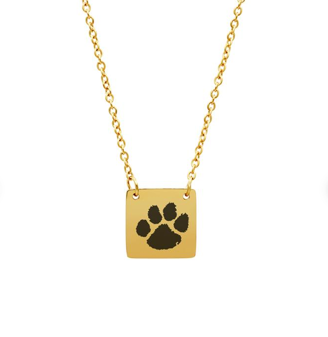 Gold animal paw print square charm necklack.
