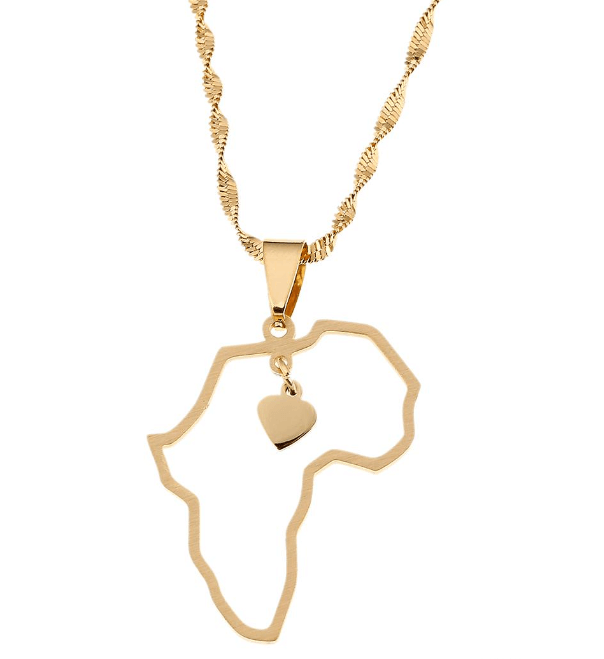 Gold color Africa map pendant.