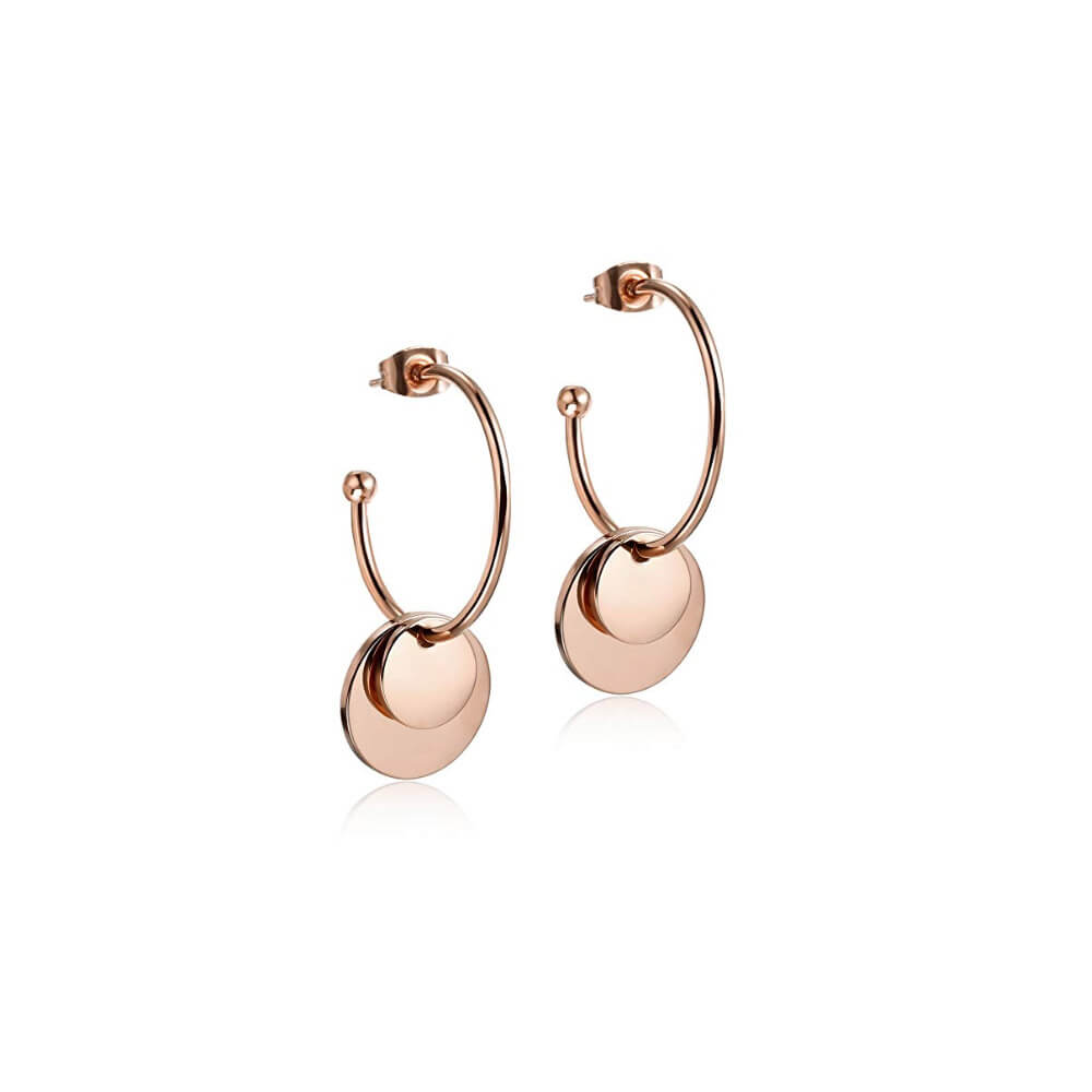 This is a pair of rose gold double disc earrings.
