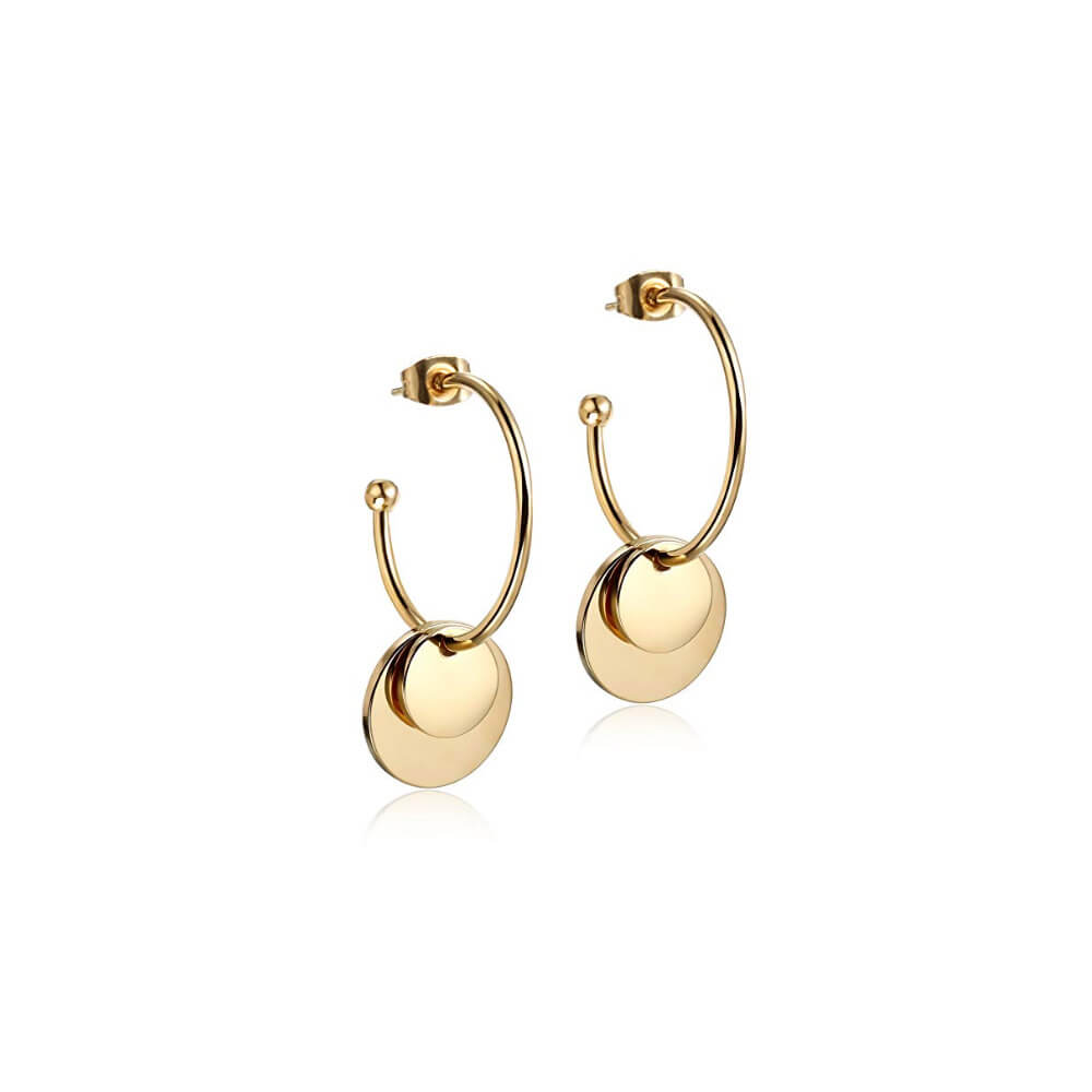 This is a pair of gold double disc earrings.