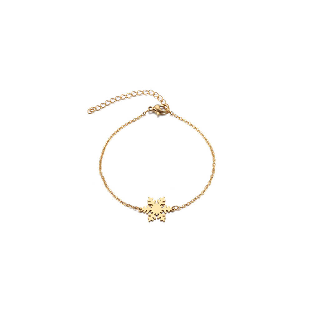 This is gold color snowflake charm bracelet.