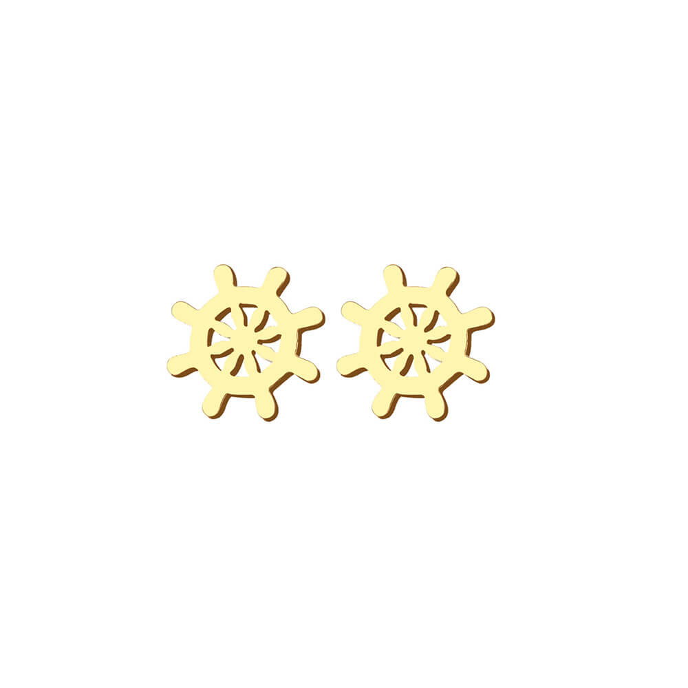 This is a pair of gold rudder stud earrings.