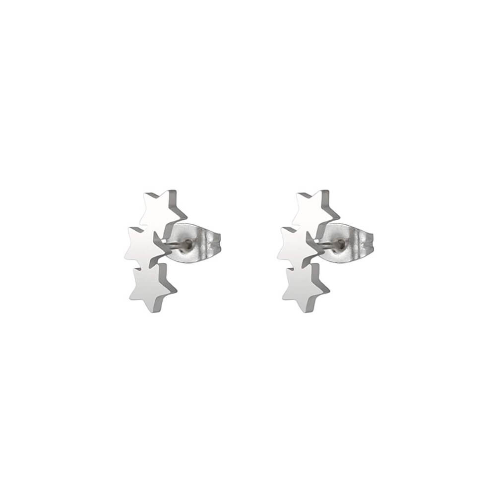 This is a pair of silver star stud earrings.