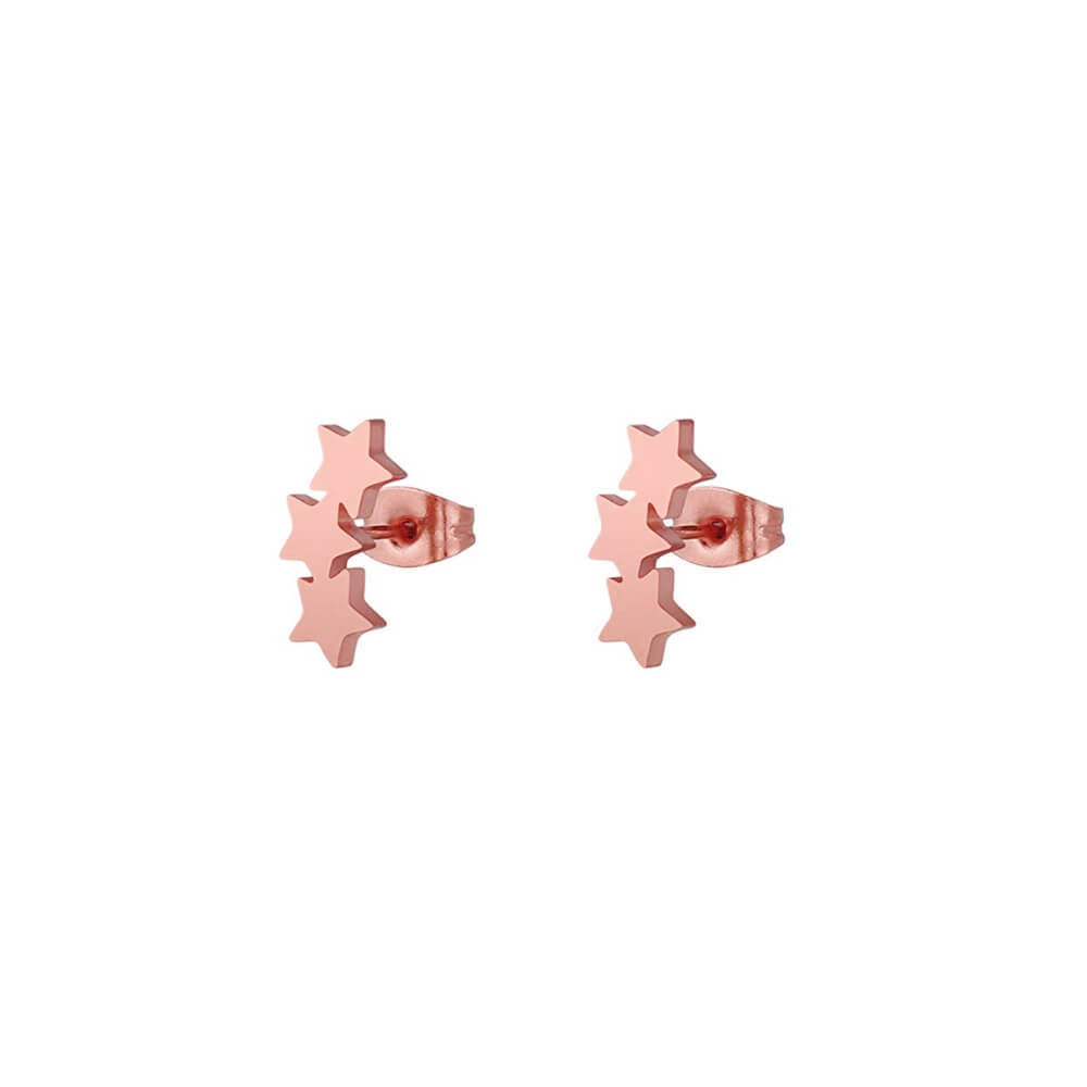 This is a pair of rose gold star stud earrings.