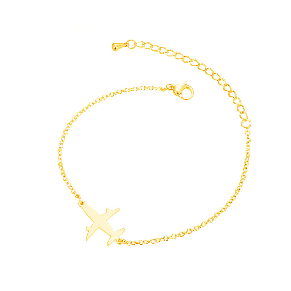 This is gold plane shape bracelet.