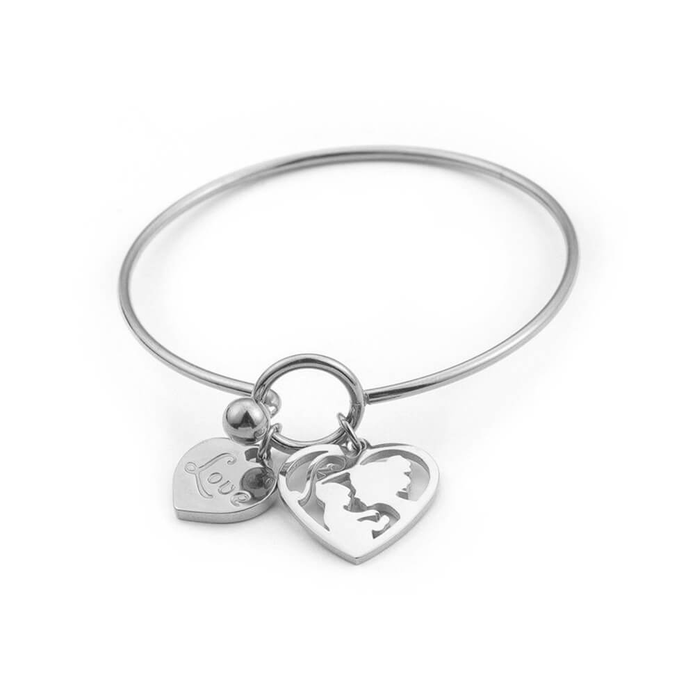 This is mom and child heart shaped bangle.