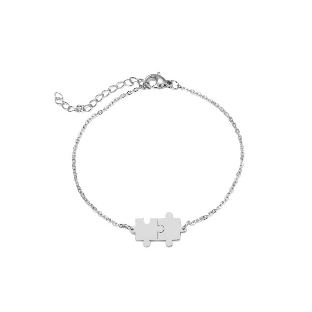 This is silver color puzzle bracelet.