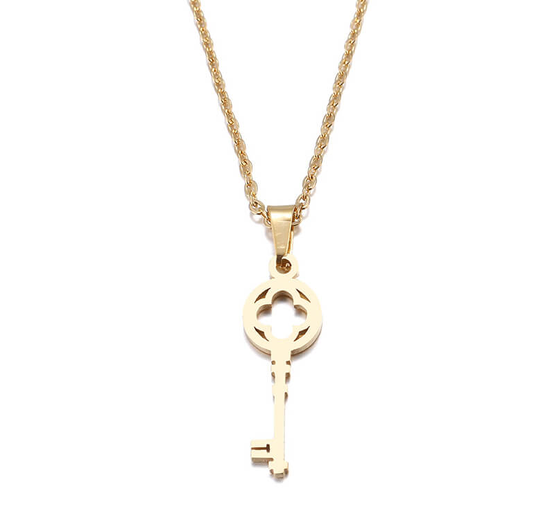 This is a gold color key shape necklace.