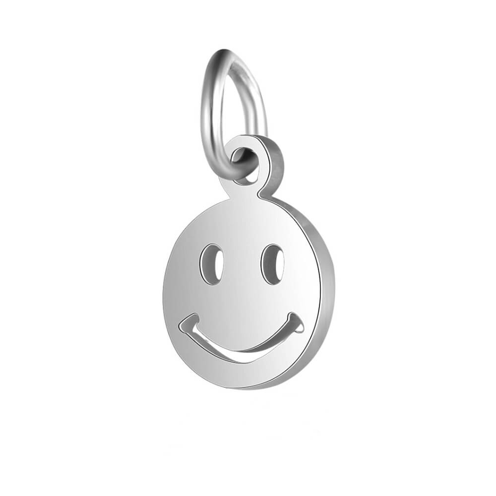 This is steel color smile expression pendant.