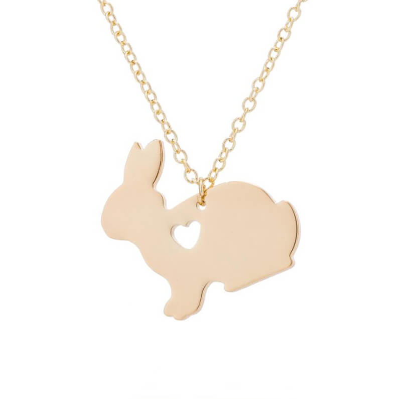 This is gold rabbit with heart charm necklace.