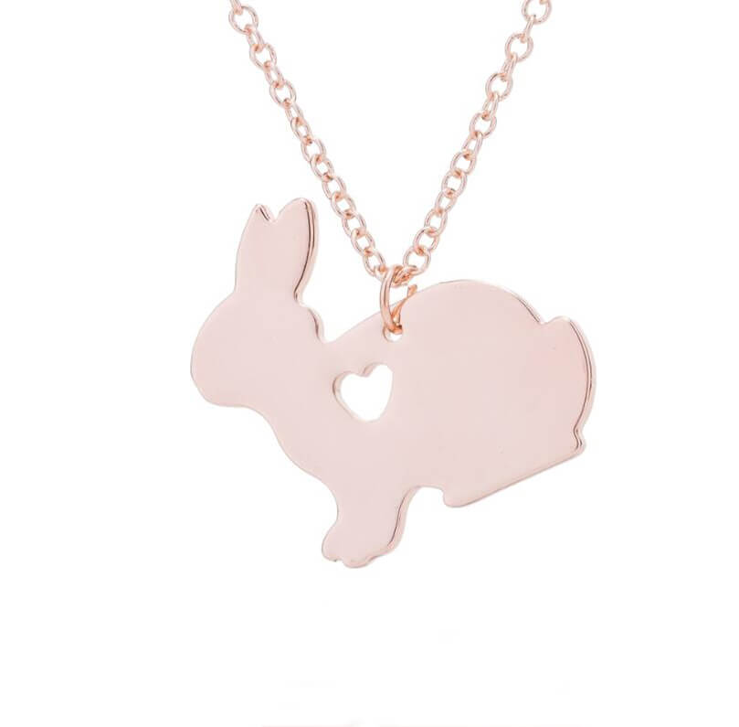 This is rose gold rabbit with heart necklace.