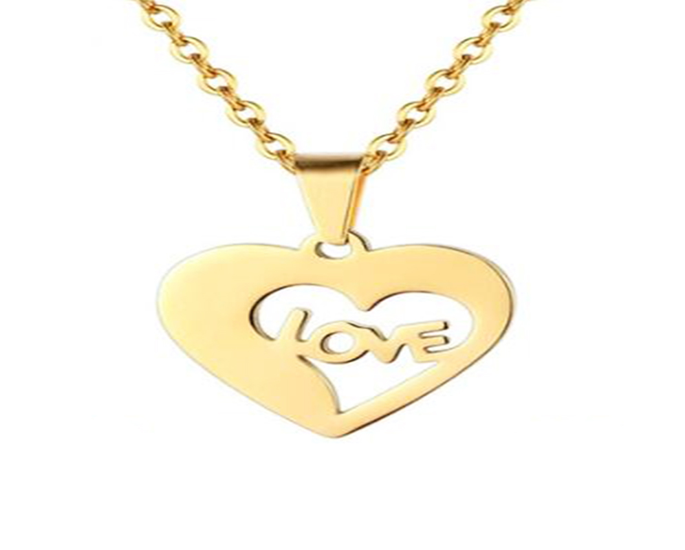 This is the gold heart pendant necklace with love