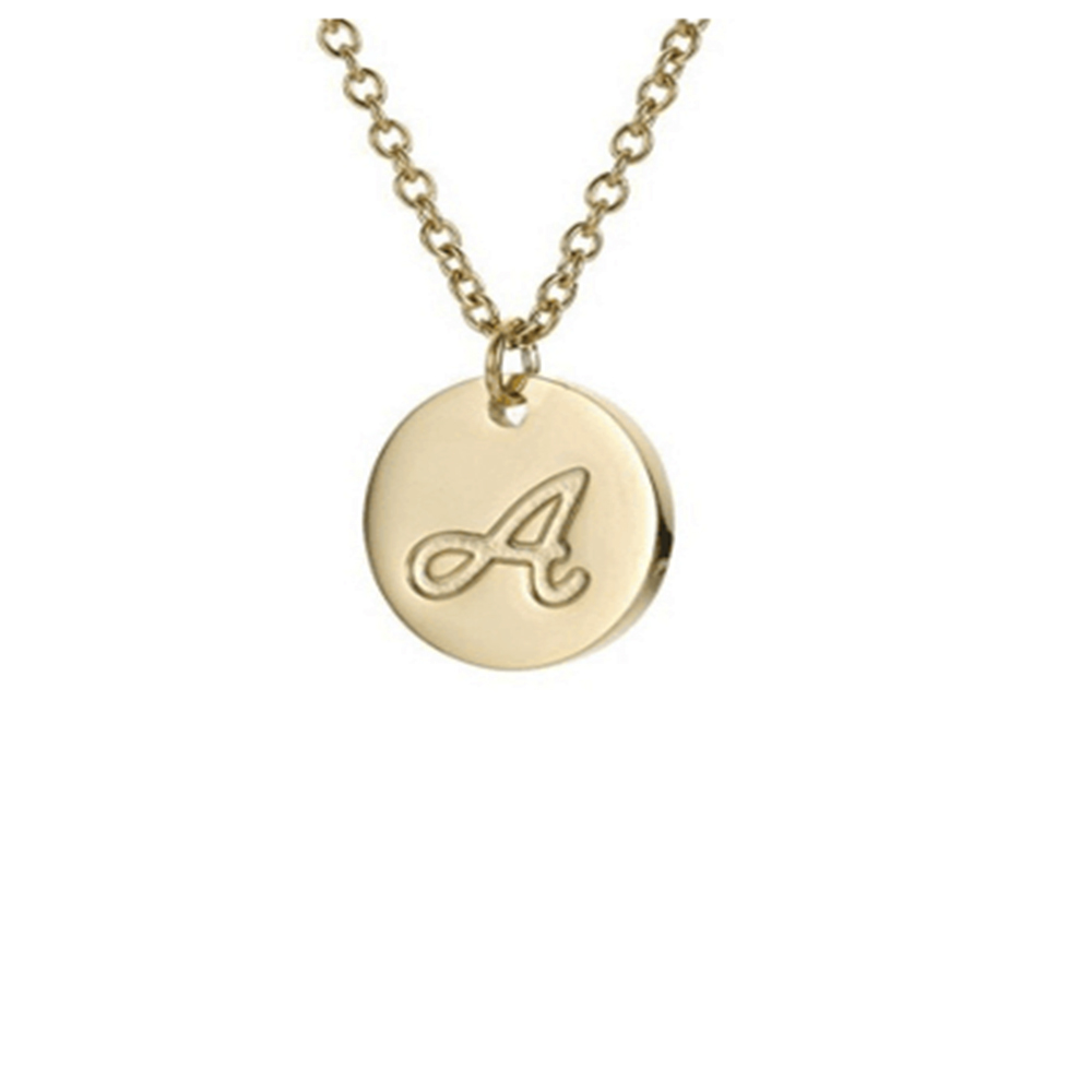 The letter round pendant with chain