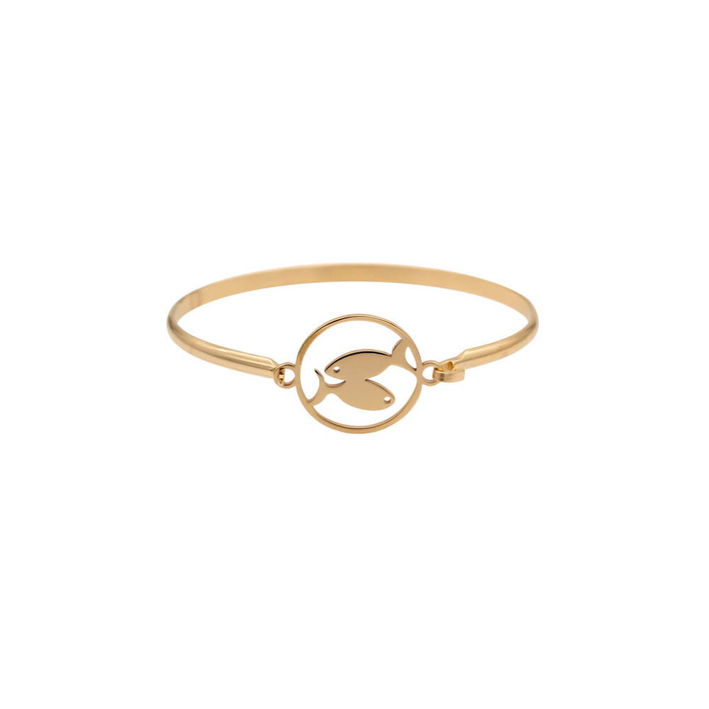 This is gold pisces shape bangle.