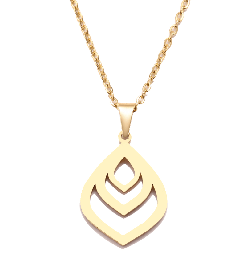 This is gold water drop charm necklace.