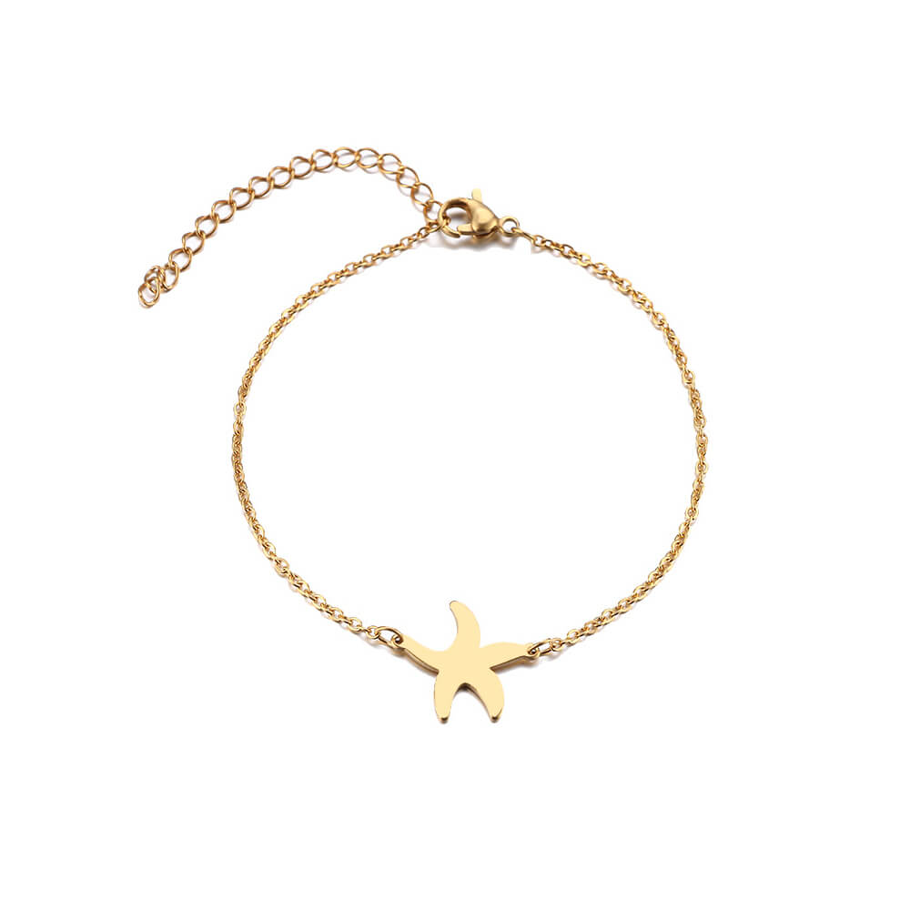 This is gold starfish charm bracelet.