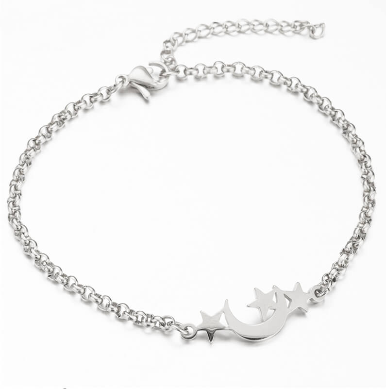 This is steel moon and three stars bracelet.
