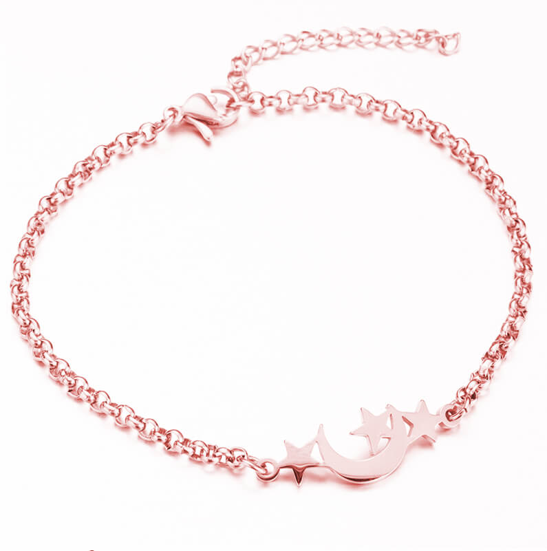 This is rose gold moon and three stars bracelet.