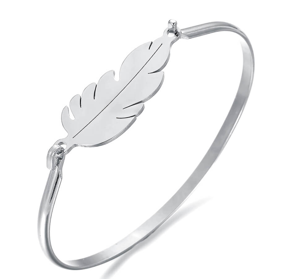 This is steel color feather shape bangle.