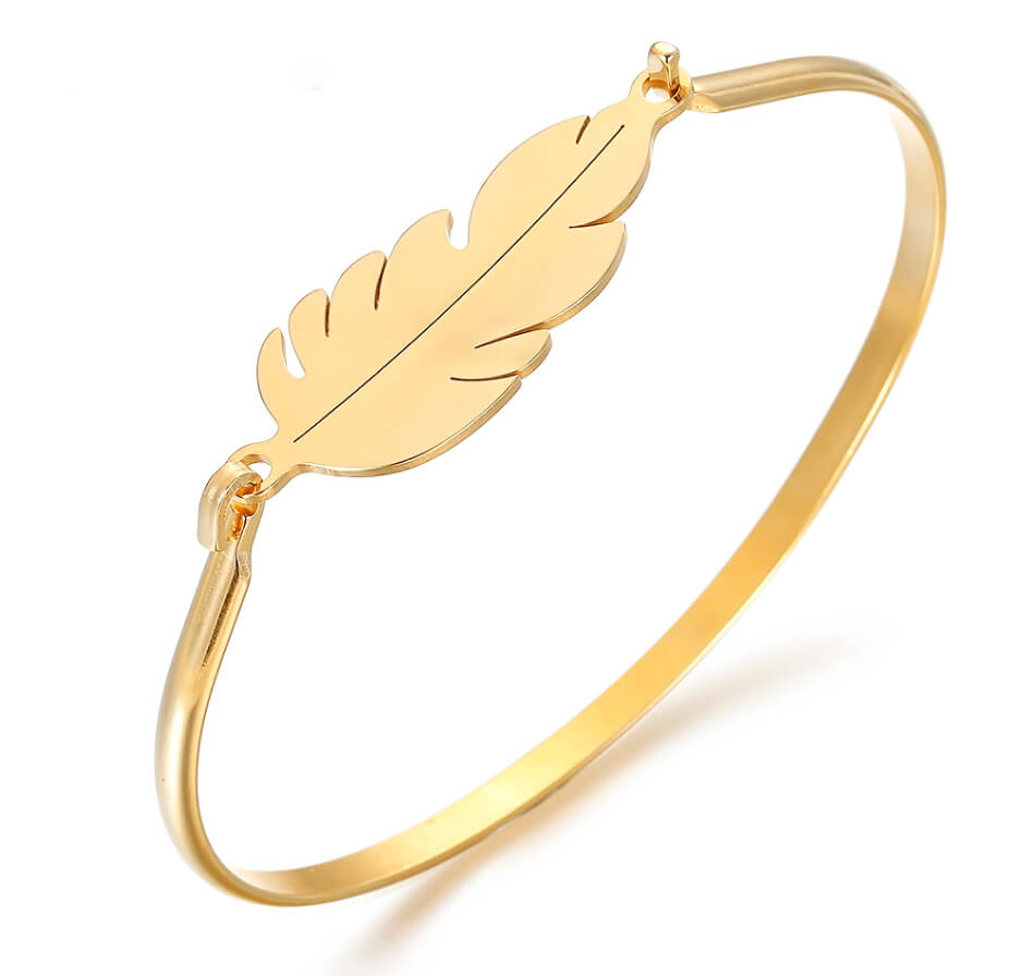 This is gold color feather shape bangle.