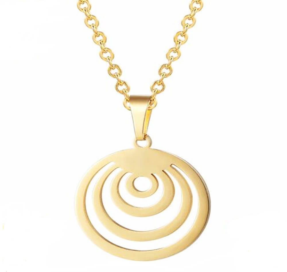 This is the gold round pendant with chain