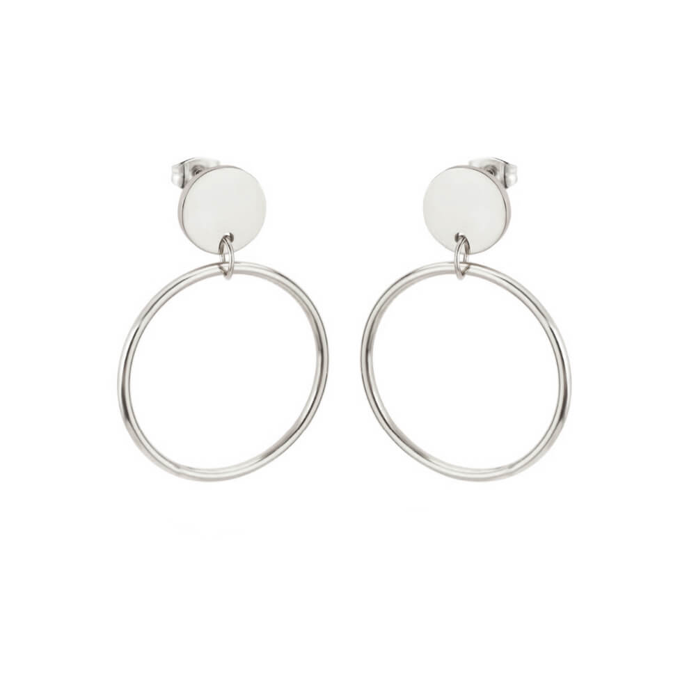 This is steel basketball circle dangle earrings.