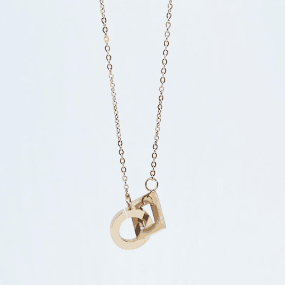 This is gold circle and square necklace