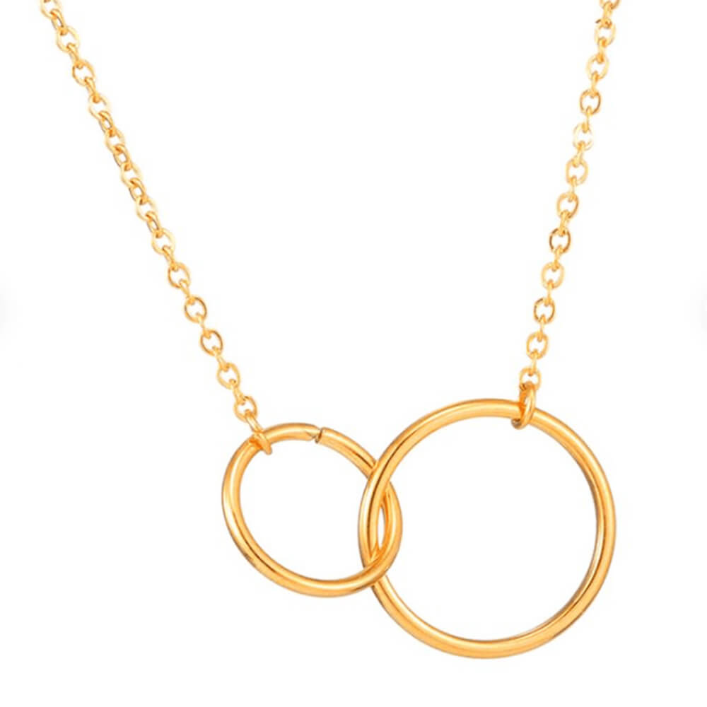 This is gold double circle necklace