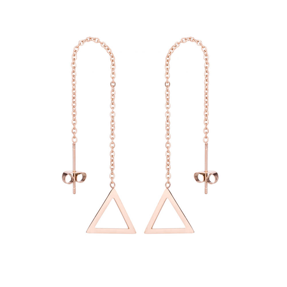 This is triangle shape dangle earrings.