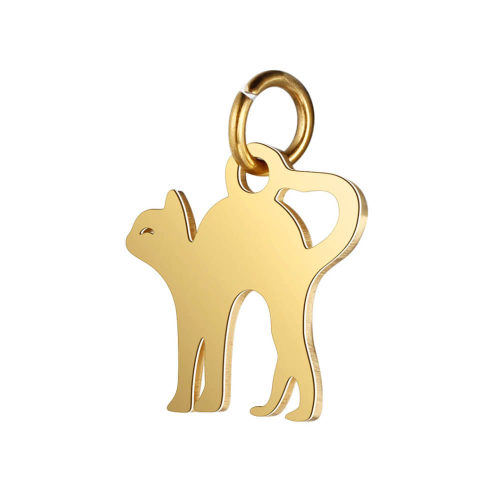 This is gold color cat pendant.