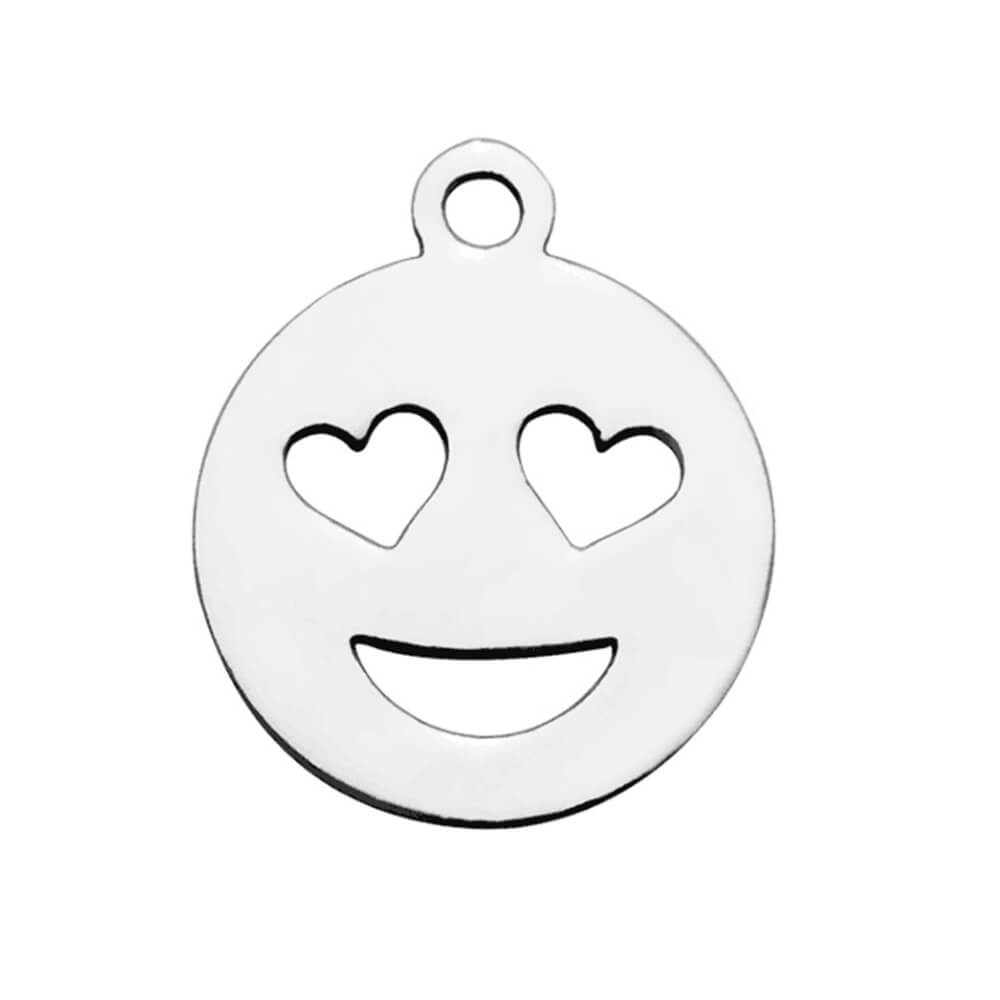 This is a silver emoji pendant