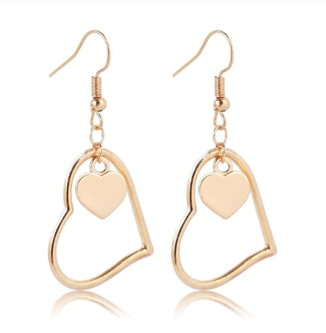 This is a pair of gold geometric earrings.
