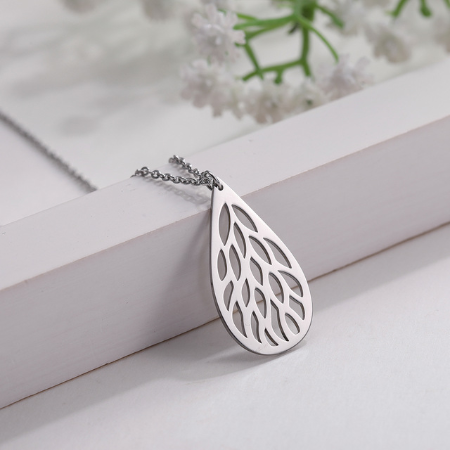 This is a droplet mesh pendant necklace.