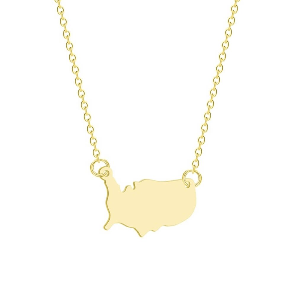 Gold color map pendant necklace