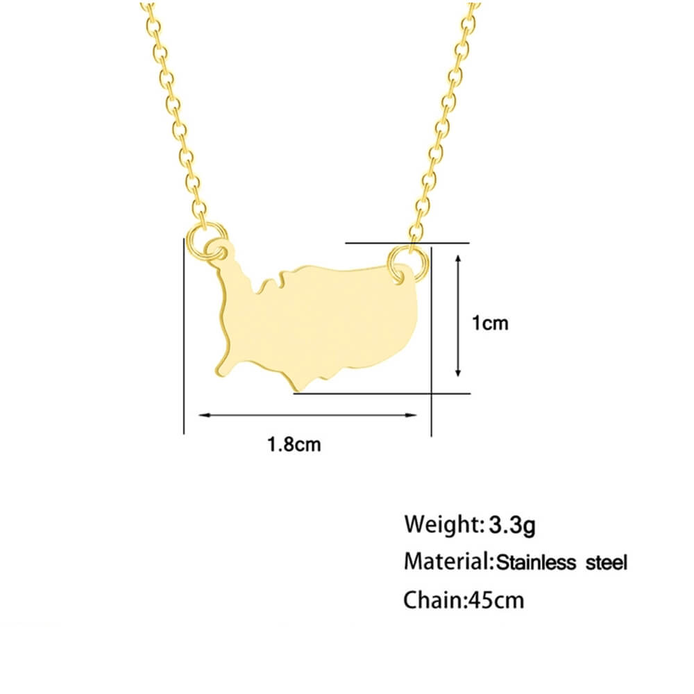 The size of Gold color map pendant necklace